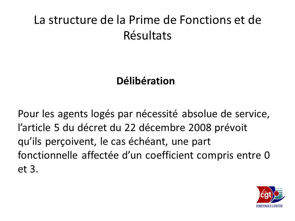 La structure de la Prime de Fonctions et de Résultats Délibération Pour les agents logés par nécessité absolue de service, larticle 5 du décret du 22