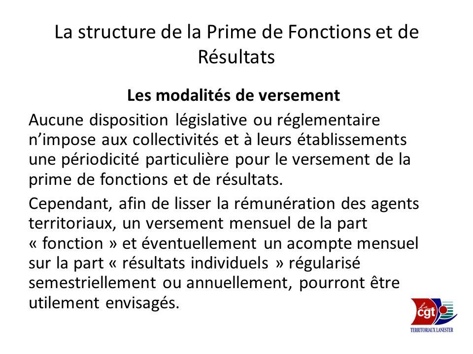 La structure de la Prime de Fonctions et de Résultats Les modalités de versement Aucune disposition législative ou réglementaire nimpose aux collectiv