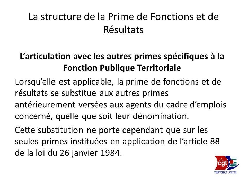 La structure de la Prime de Fonctions et de Résultats Larticulation avec les autres primes spécifiques à la Fonction Publique Territoriale Lorsquelle