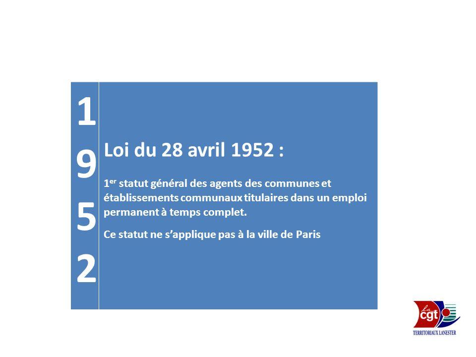 19521952 Loi du 28 avril 1952 : 1 er statut général des agents des communes et établissements communaux titulaires dans un emploi permanent à temps co