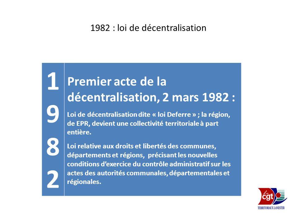 1982 : loi de décentralisation 19821982 Premier acte de la décentralisation, 2 mars 1982 : Loi de décentralisation dite « loi Deferre » ; la région, d