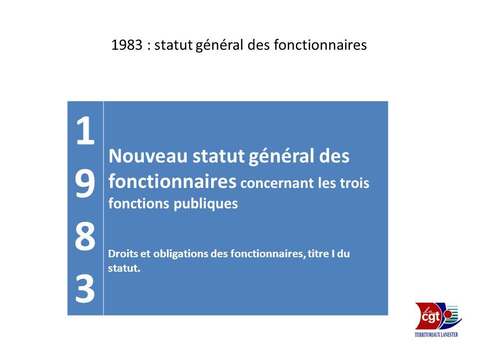 1983 : statut général des fonctionnaires 19831983 Nouveau statut général des fonctionnaires concernant les trois fonctions publiques Droits et obligat