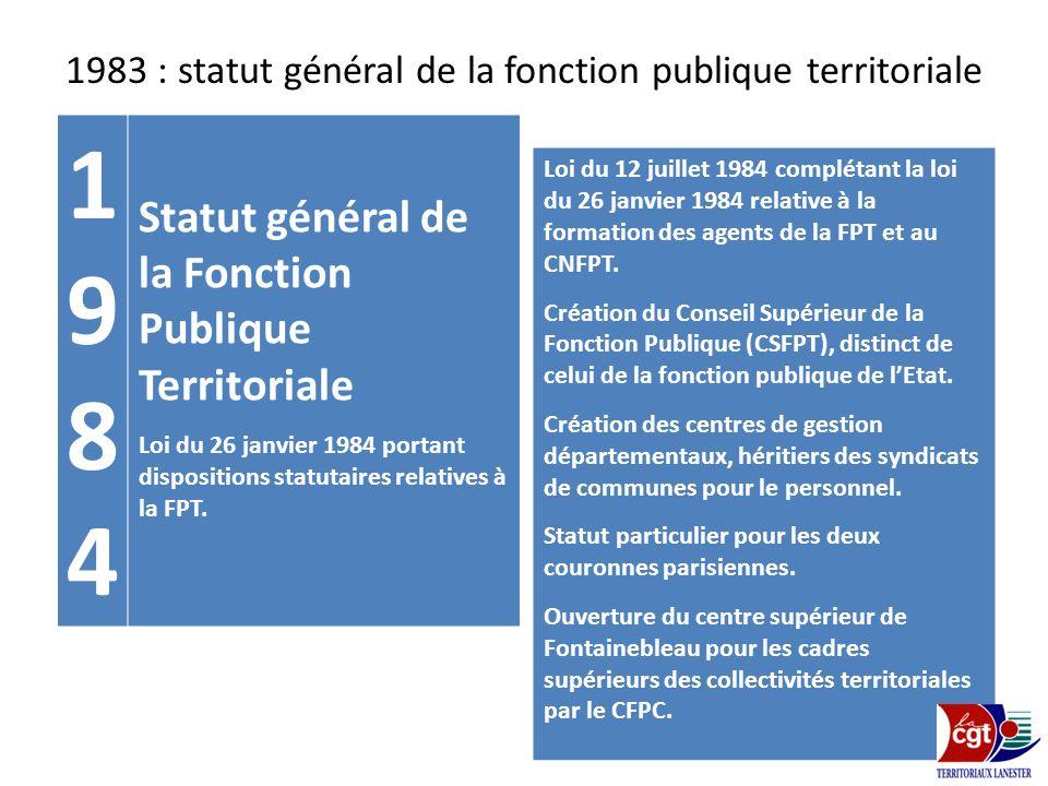 1983 : statut général de la fonction publique territoriale 19841984 Statut général de la Fonction Publique Territoriale Loi du 26 janvier 1984 portant