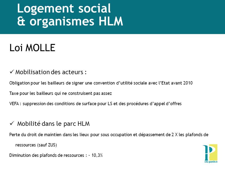 Logement social & organismes HLM Loi MOLLE Mobilisation des acteurs : Obligation pour les bailleurs de signer une convention dutilité sociale avec lEt