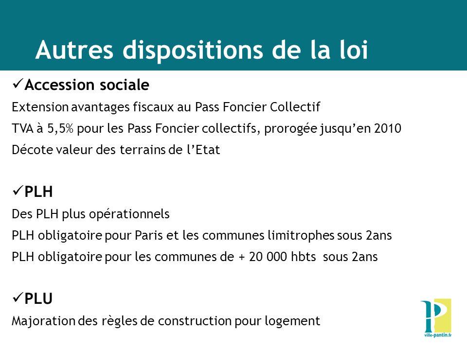Autres dispositions de la loi Accession sociale Extension avantages fiscaux au Pass Foncier Collectif TVA à 5,5% pour les Pass Foncier collectifs, pro