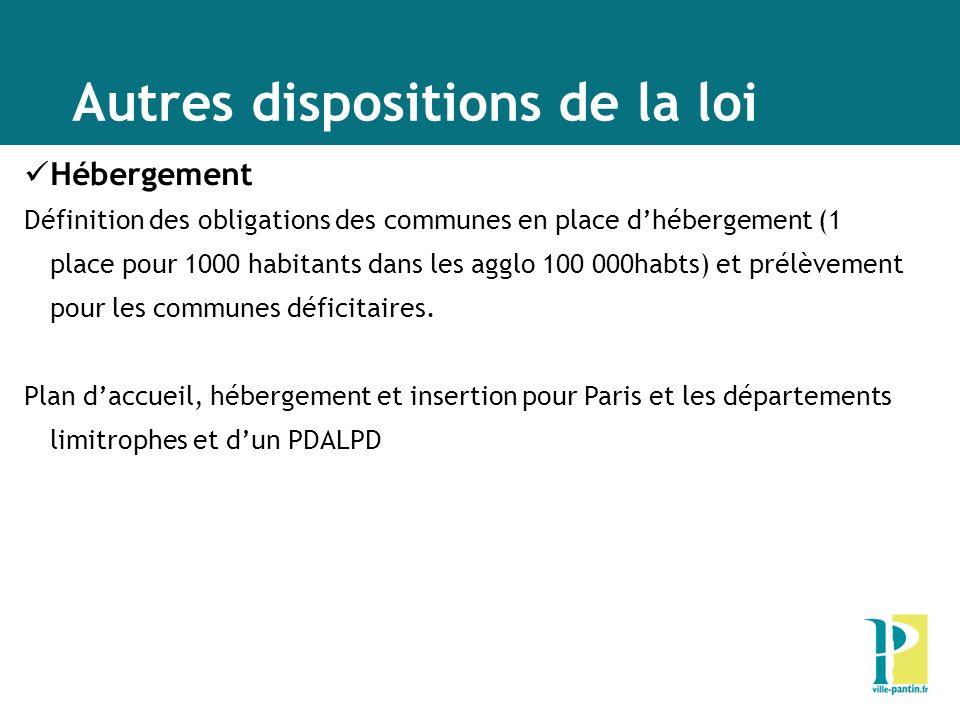 Autres dispositions de la loi Hébergement Définition des obligations des communes en place dhébergement (1 place pour 1000 habitants dans les agglo 10