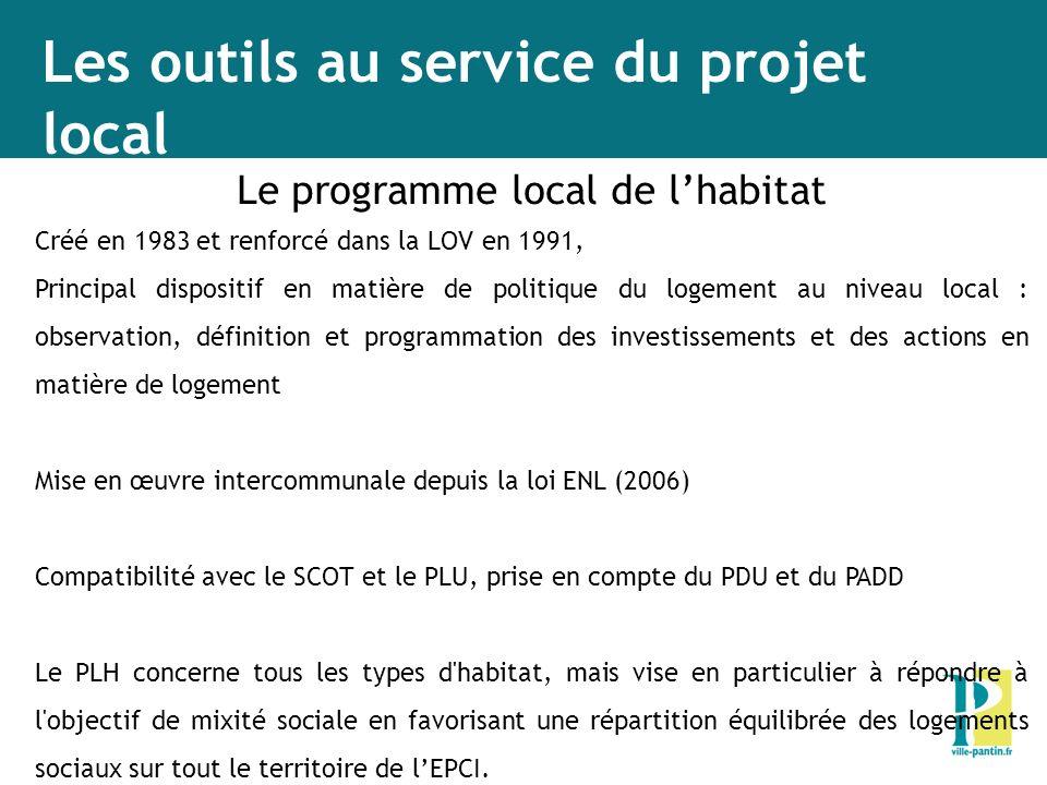 Les outils au service du projet local Le programme local de lhabitat Créé en 1983 et renforcé dans la LOV en 1991, Principal dispositif en matière de