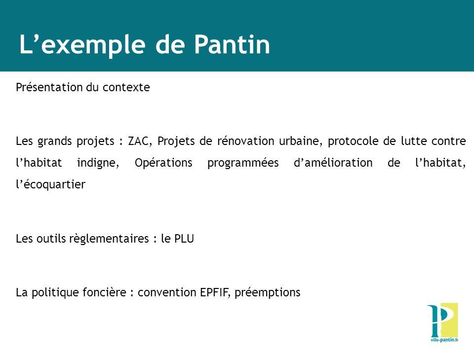 Lexemple de Pantin Présentation du contexte Les grands projets : ZAC, Projets de rénovation urbaine, protocole de lutte contre lhabitat indigne, Opéra