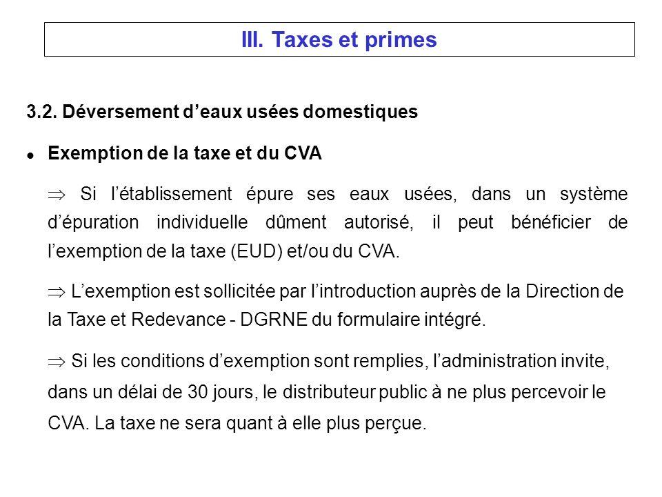 3.2. Déversement deaux usées domestiques l Exemption de la taxe et du CVA Si létablissement épure ses eaux usées, dans un système dépuration individue