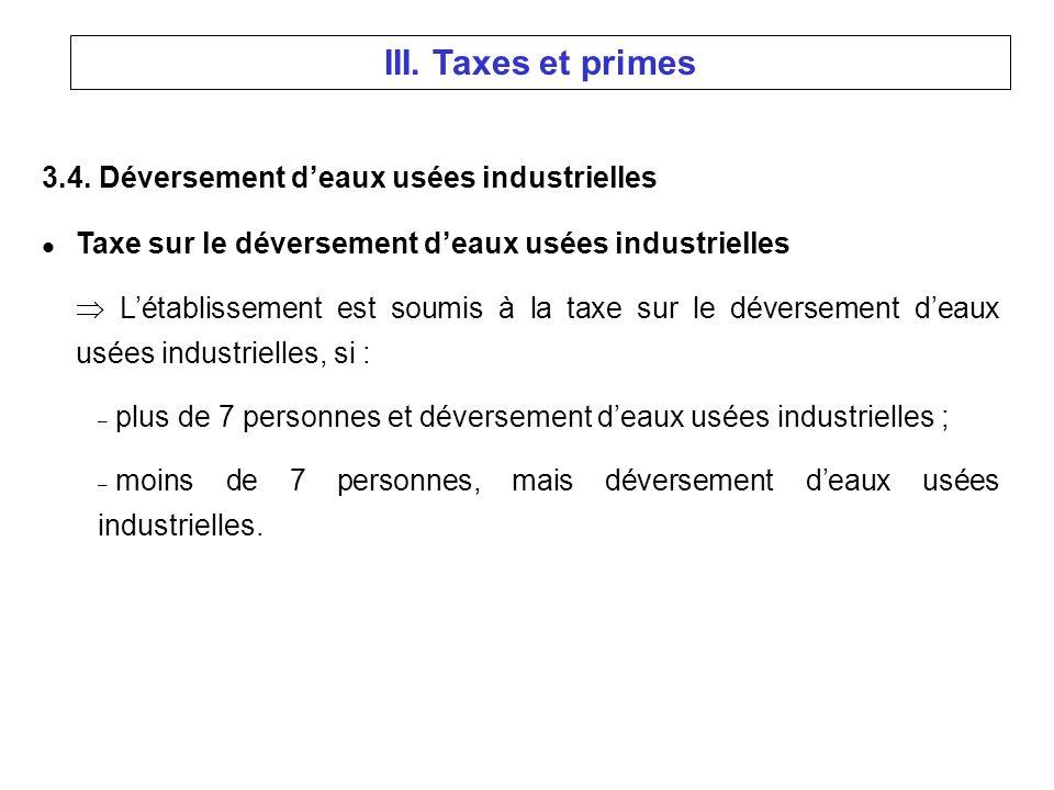 3.4. Déversement deaux usées industrielles l Taxe sur le déversement deaux usées industrielles Létablissement est soumis à la taxe sur le déversement