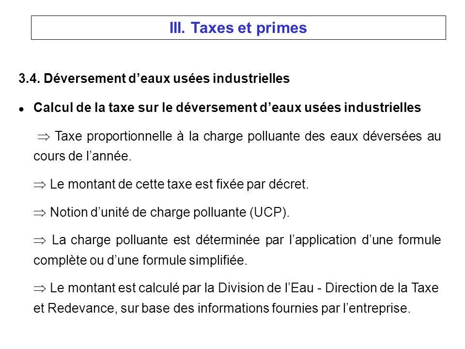 3.4. Déversement deaux usées industrielles l Calcul de la taxe sur le déversement deaux usées industrielles Taxe proportionnelle à la charge polluante