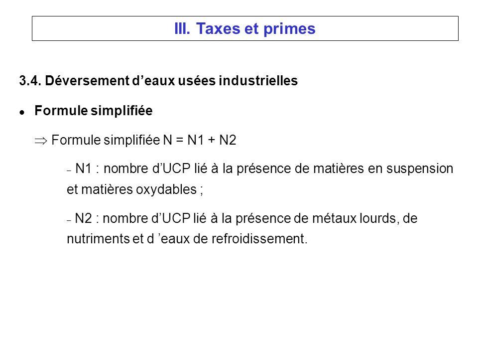 3.4. Déversement deaux usées industrielles l Formule simplifiée Formule simplifiée N = N1 + N2 – N1 : nombre dUCP lié à la présence de matières en sus