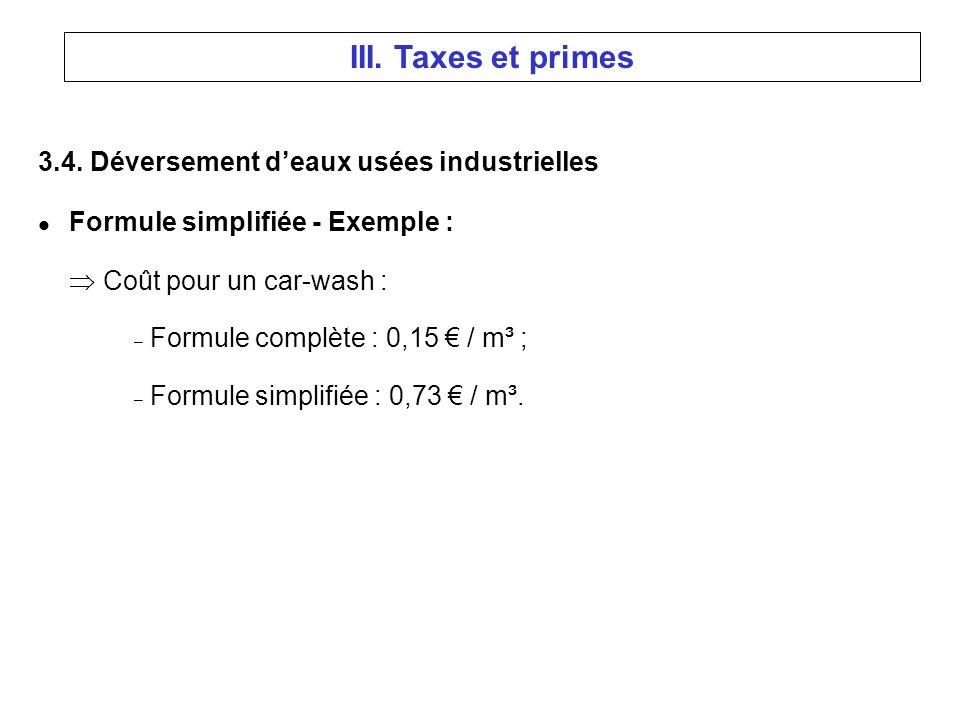 3.4. Déversement deaux usées industrielles l Formule simplifiée - Exemple : Coût pour un car-wash : – Formule complète : 0,15 / m³ ; – Formule simplif