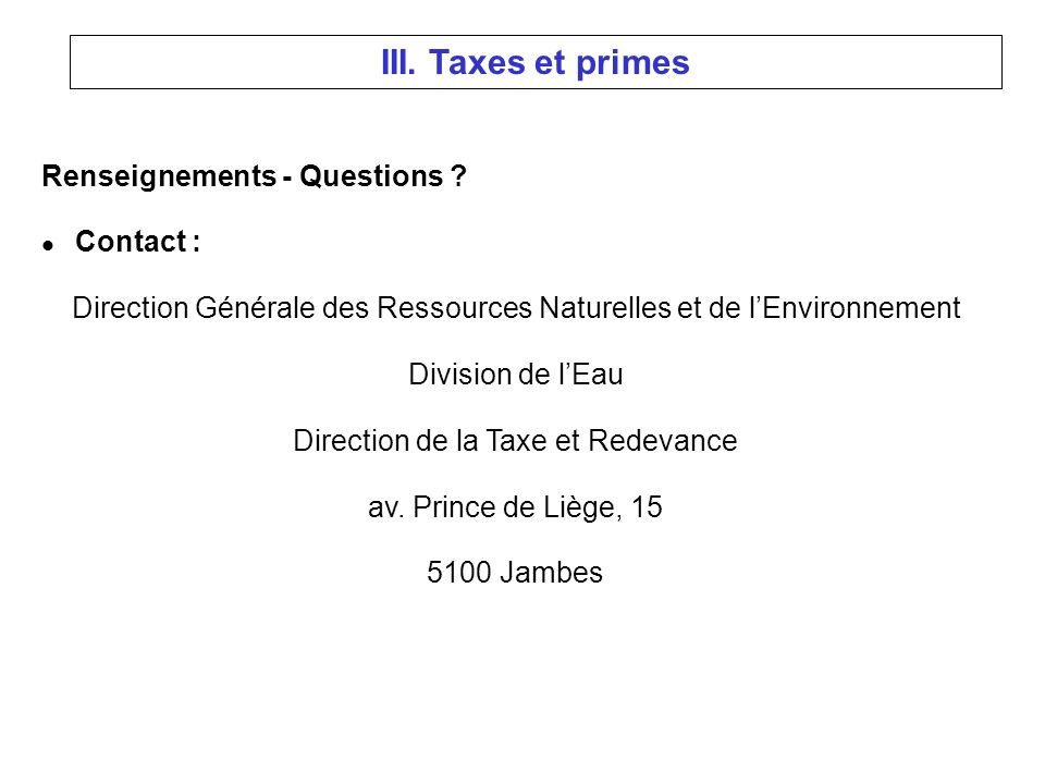 Renseignements - Questions .
