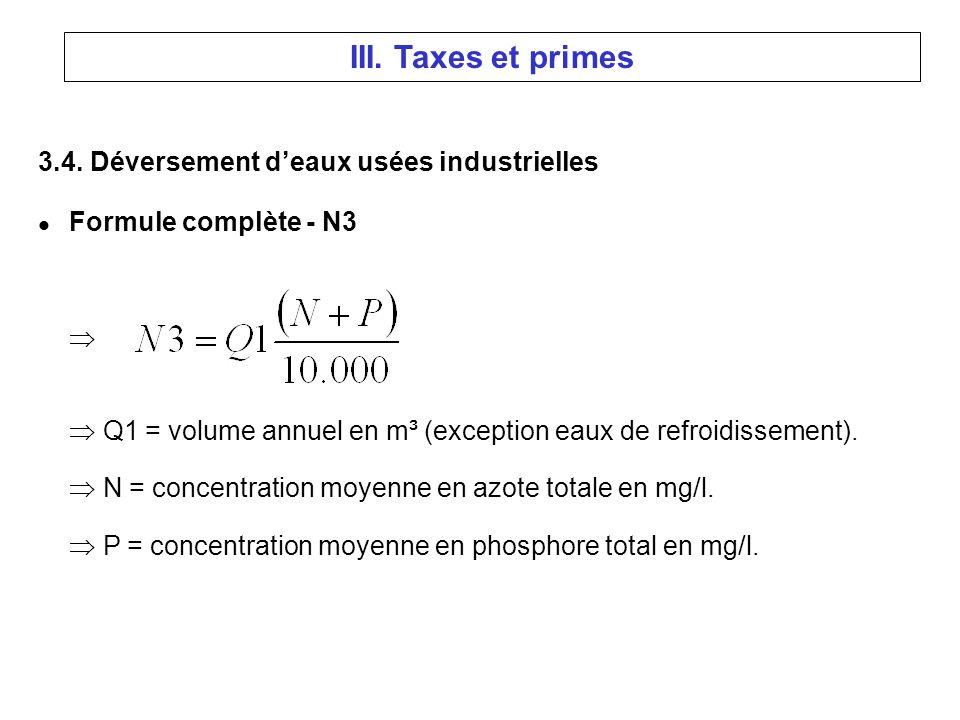 3.4. Déversement deaux usées industrielles l Formule complète - N3 Q1 = volume annuel en m³ (exception eaux de refroidissement). N = concentration moy