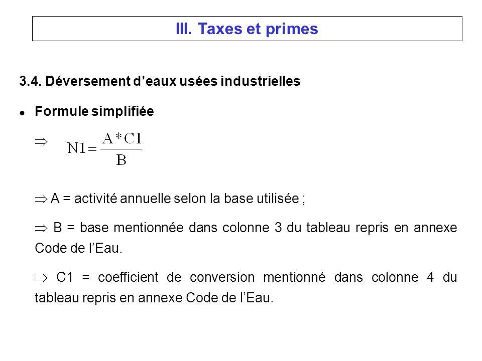 3.4. Déversement deaux usées industrielles l Formule simplifiée A = activité annuelle selon la base utilisée ; B = base mentionnée dans colonne 3 du t