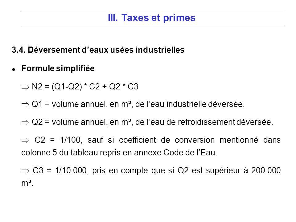 3.4. Déversement deaux usées industrielles l Formule simplifiée N2 = (Q1-Q2) * C2 + Q2 * C3 Q1 = volume annuel, en m³, de leau industrielle déversée.