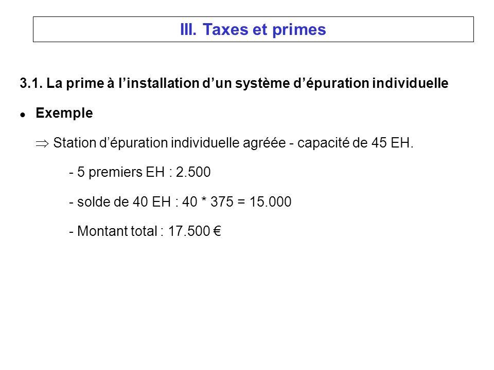 3.1. La prime à linstallation dun système dépuration individuelle l Exemple Station dépuration individuelle agréée - capacité de 45 EH. - 5 premiers E