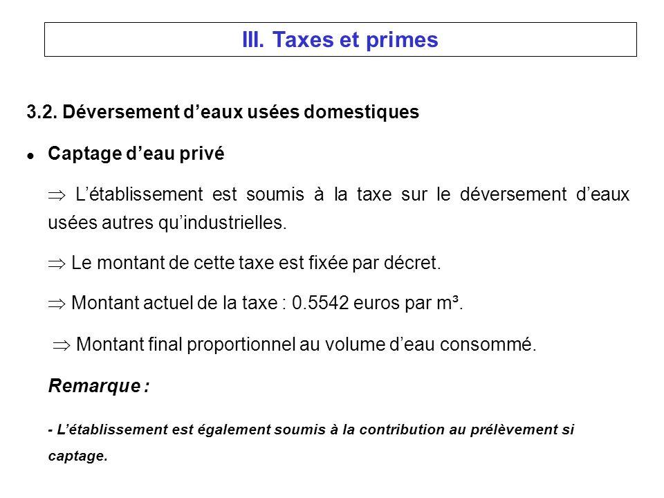 3.2. Déversement deaux usées domestiques l Captage deau privé Létablissement est soumis à la taxe sur le déversement deaux usées autres quindustrielle