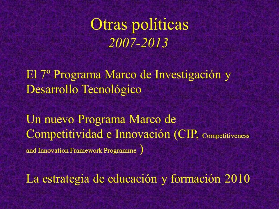 Otras políticas 2007-2013 El 7º Programa Marco de Investigación y Desarrollo Tecnológico Un nuevo Programa Marco de Competitividad e Innovación (CIP, Competitiveness and Innovation Framework Programme ) La estrategia de educación y formación 2010