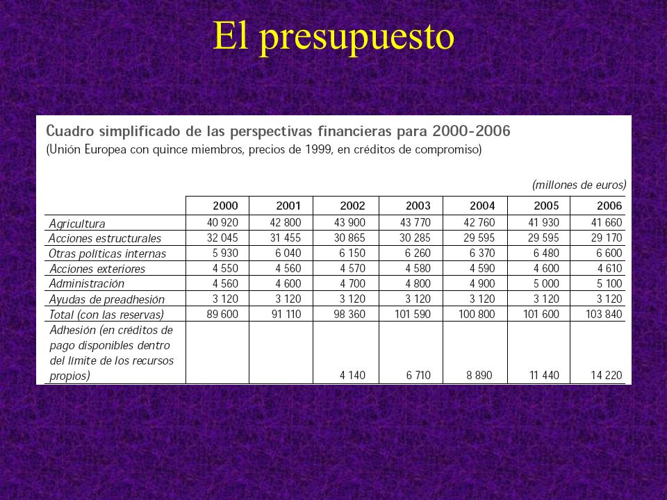 Nuevas políticas 2007-2013 Competitividad Total en miles de M % sobre el total Cambio en % 2006/2013 Investigación e innovación53.2 Programa de Competitividad e Innovación (CIP) 3.6 Formación permanente7.0 Redes transeuropeas8.1 Galileo3.0 Otros2.5 Committments (proposal) 2007-2013 (2004 prices)