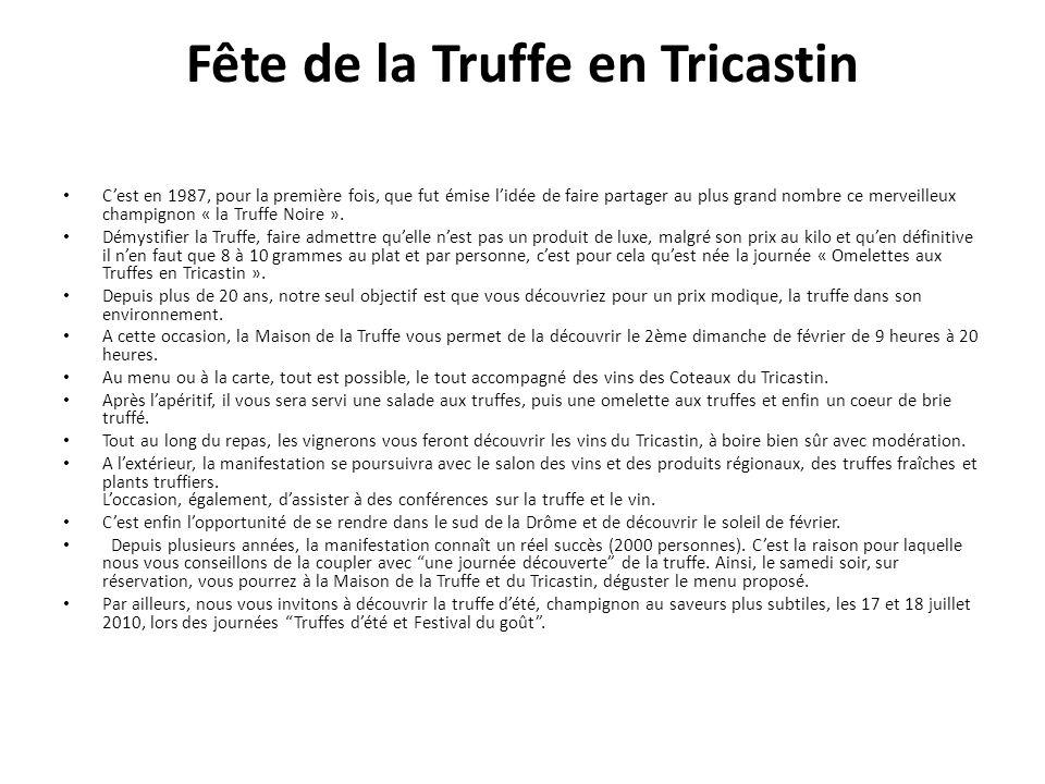 Fête de la Truffe en Tricastin Cest en 1987, pour la première fois, que fut émise lidée de faire partager au plus grand nombre ce merveilleux champignon « la Truffe Noire ».
