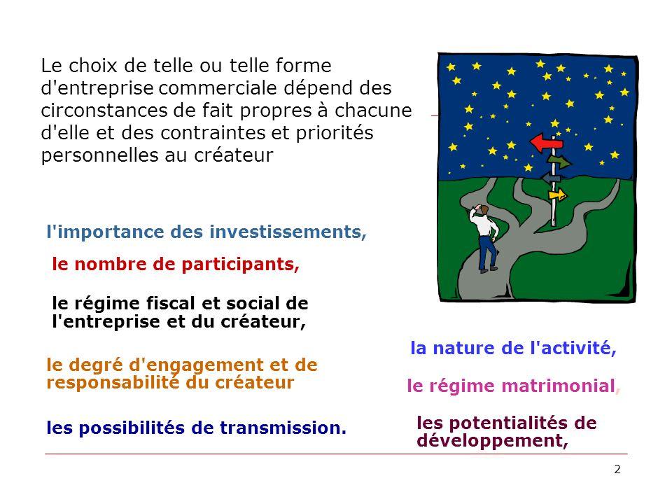 présentation n° 23 Choix de la structure juridique