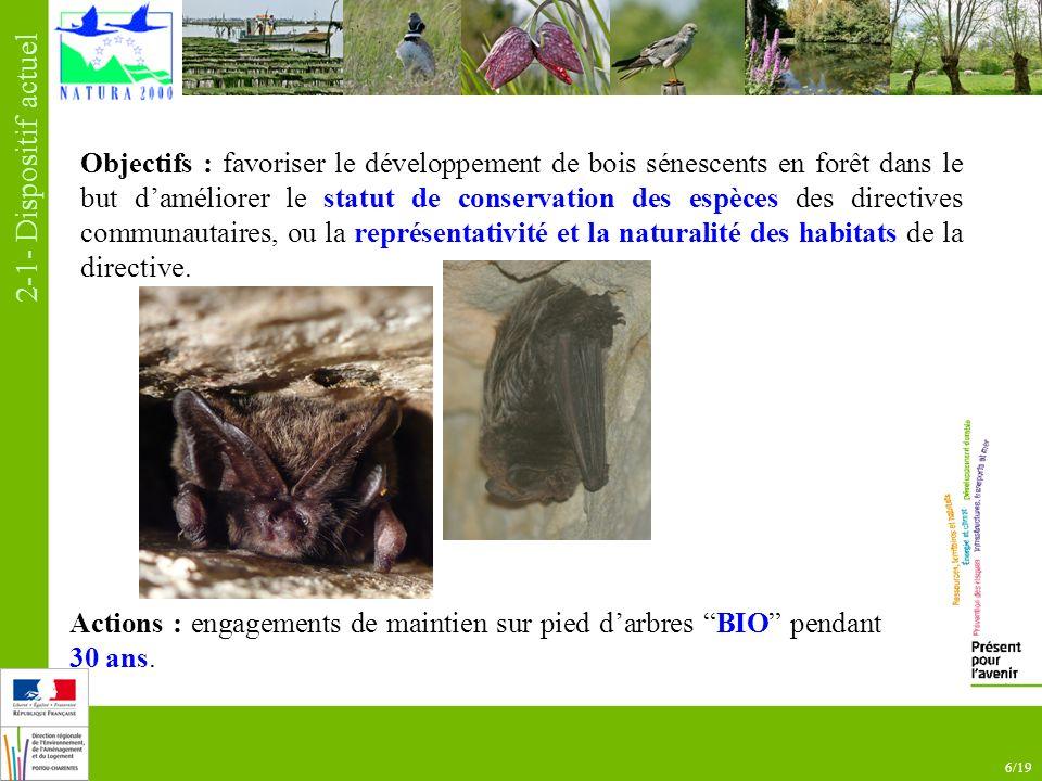 6/19 Objectifs : favoriser le développement de bois sénescents en forêt dans le but daméliorer le statut de conservation des espèces des directives communautaires, ou la représentativité et la naturalité des habitats de la directive.