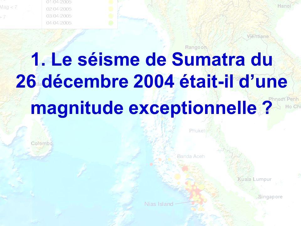 Magnitude Liée à lénergie libérée par le séisme Liée à lénergie libérée par le séisme De M à M+1 : énergie multipliée par 32 De M à M+1 : énergie multipliée par 32 Calculée en utilisant les enregistrements (sismogrammes) Calculée en utilisant les enregistrements (sismogrammes) Un séisme = une magnitude et une seule Un séisme = une magnitude et une seule Exprimée sur léchelle de Richter Exprimée sur léchelle de Richter M = - 3 : « séisme » produit par la chute dune masse dun kilogramme dune hauteur de 30 cm M = - 3 : « séisme » produit par la chute dune masse dun kilogramme dune hauteur de 30 cm M = 9,5 : plus gros séisme connu (Chili, 1960)M = 9,5 : plus gros séisme connu (Chili, 1960)