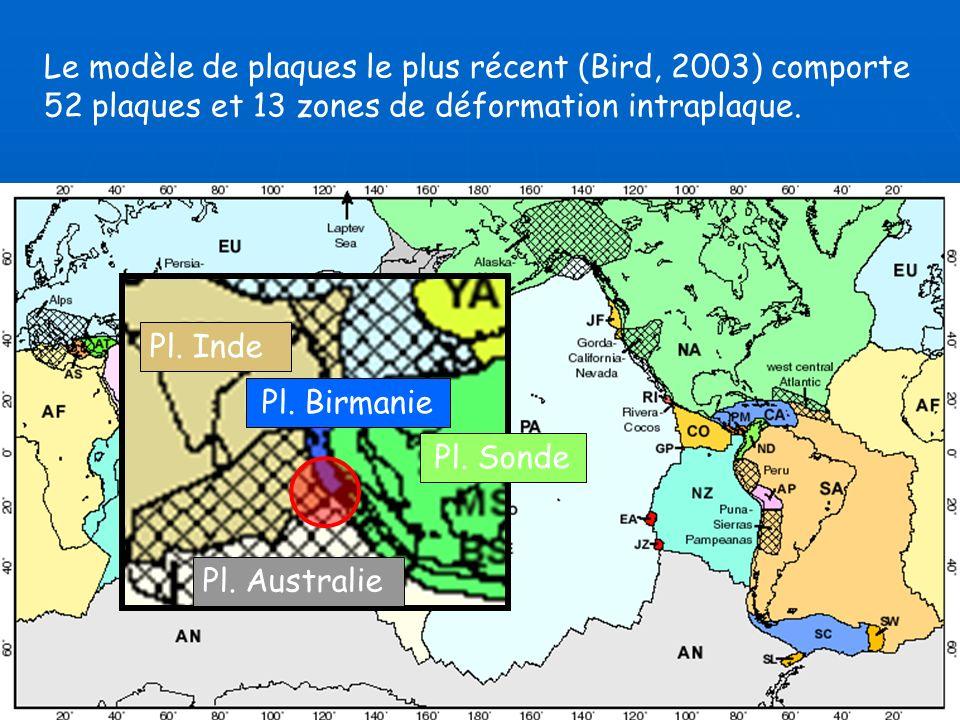 Le modèle de plaques le plus récent (Bird, 2003) comporte 52 plaques et 13 zones de déformation intraplaque. Pl. Inde Pl. Australie Pl. Sonde Pl. Birm