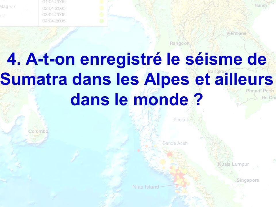 4. A-t-on enregistré le séisme de Sumatra dans les Alpes et ailleurs dans le monde ?