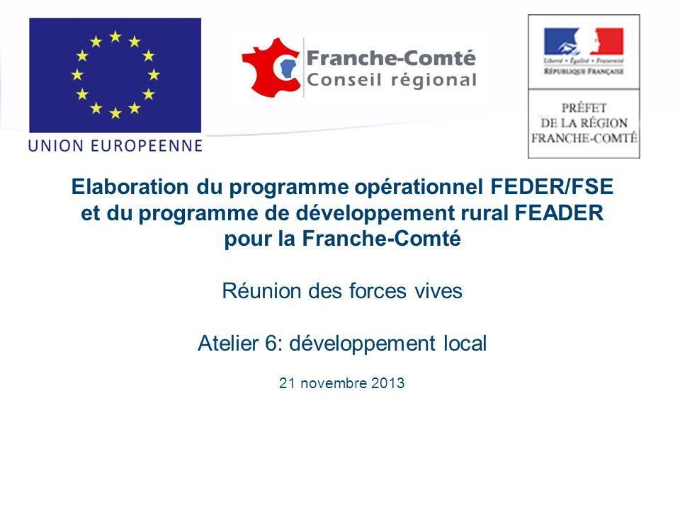 Investissez lavenir, finançons vos projets Elaboration du programme opérationnel FEDER/FSE et du programme de développement rural FEADER pour la Franche-Comté Réunion des forces vives Atelier 6: développement local 21 novembre 2013