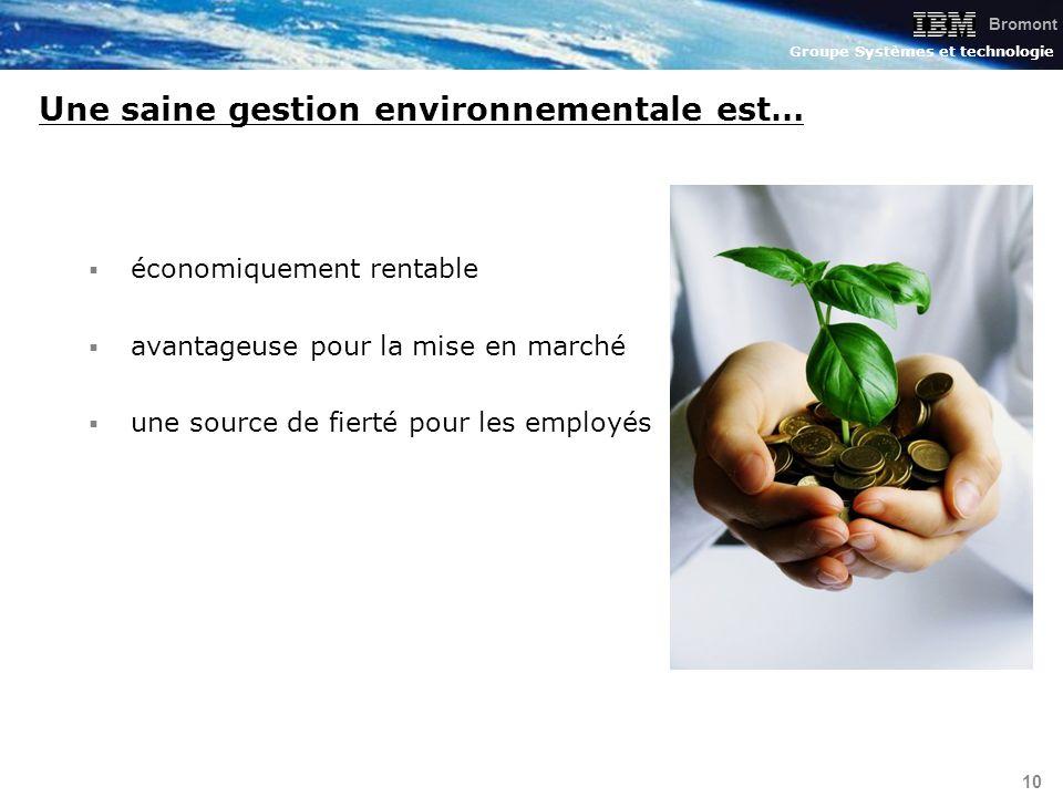 Bromont Groupe Systèmes et technologie 10 économiquement rentable avantageuse pour la mise en marché une source de fierté pour les employés Une saine