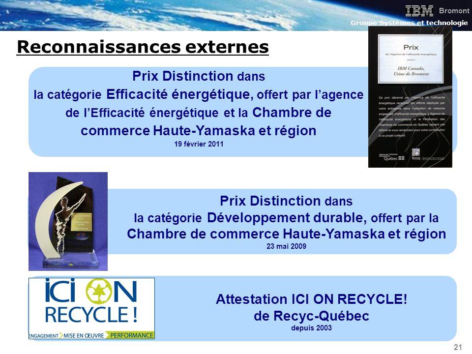Bromont Groupe Systèmes et technologie 21 Reconnaissances externes Prix Distinction dans la catégorie Développement durable, offert par la Chambre de