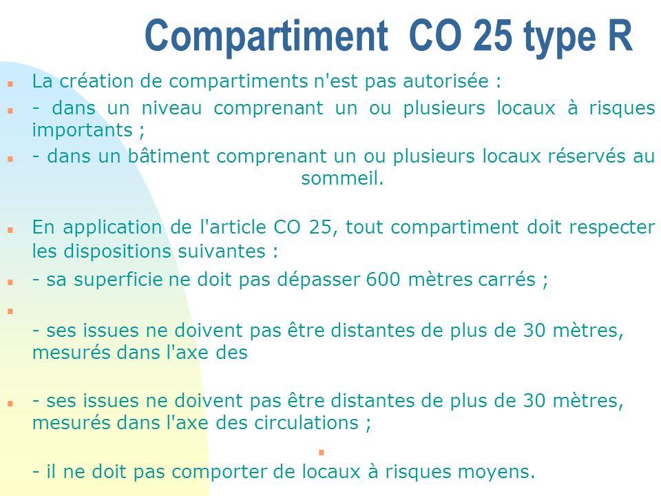 Compartiment CO 25 type R n La création de compartiments n'est pas autorisée : n - dans un niveau comprenant un ou plusieurs locaux à risques importan