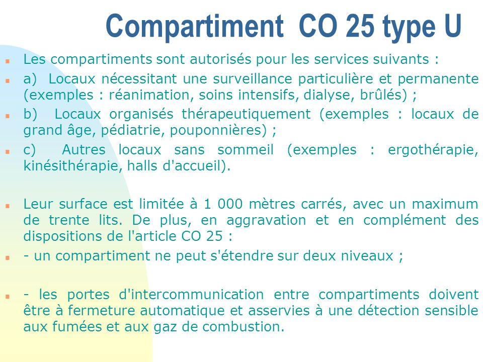 Compartiment CO 25 type U n Les compartiments sont autorisés pour les services suivants : n a) Locaux nécessitant une surveillance particulière et per