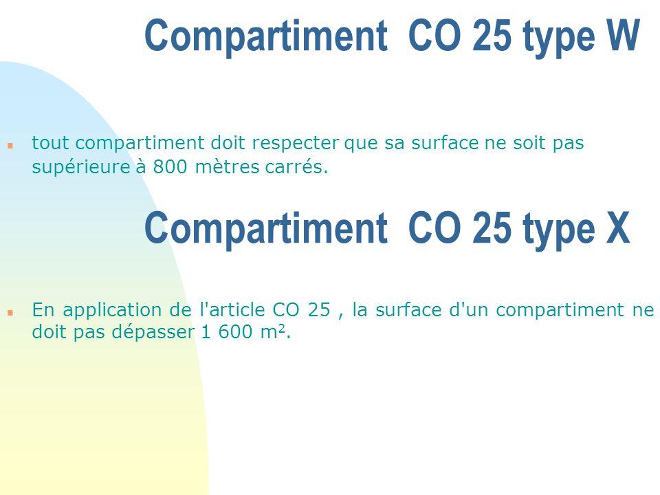 Compartiment CO 25 type W n tout compartiment doit respecter que sa surface ne soit pas supérieure à 800 mètres carrés. n En application de l'article