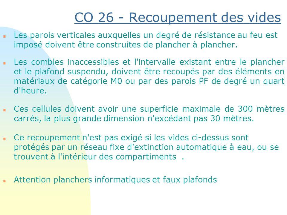 CO 26 - Recoupement des vides n Les parois verticales auxquelles un degré de résistance au feu est imposé doivent être construites de plancher à planc