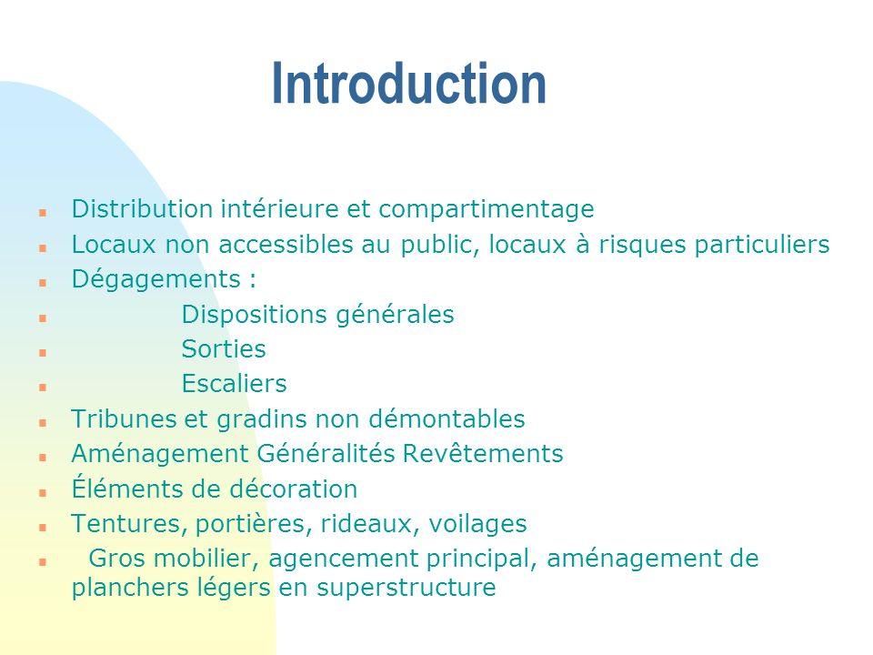 Introduction n Distribution intérieure et compartimentage n Locaux non accessibles au public, locaux à risques particuliers n Dégagements : n Disposit