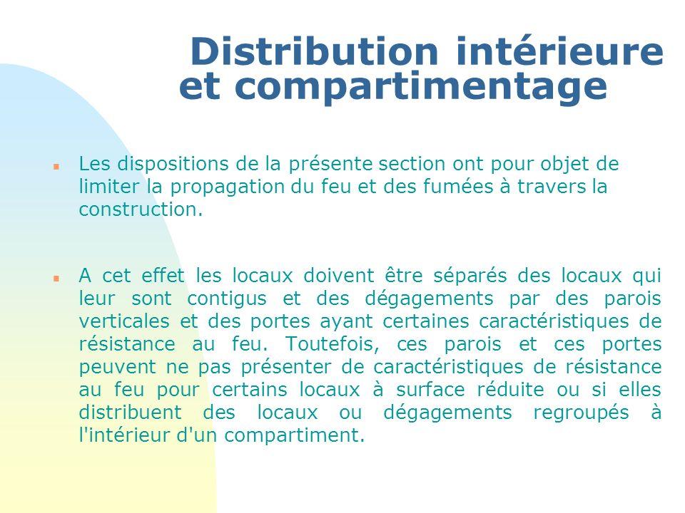 Distribution intérieure et compartimentage n Les dispositions de la présente section ont pour objet de limiter la propagation du feu et des fumées à t