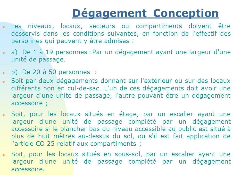 Dégagement Conception n Les niveaux, locaux, secteurs ou compartiments doivent être desservis dans les conditions suivantes, en fonction de l'effectif