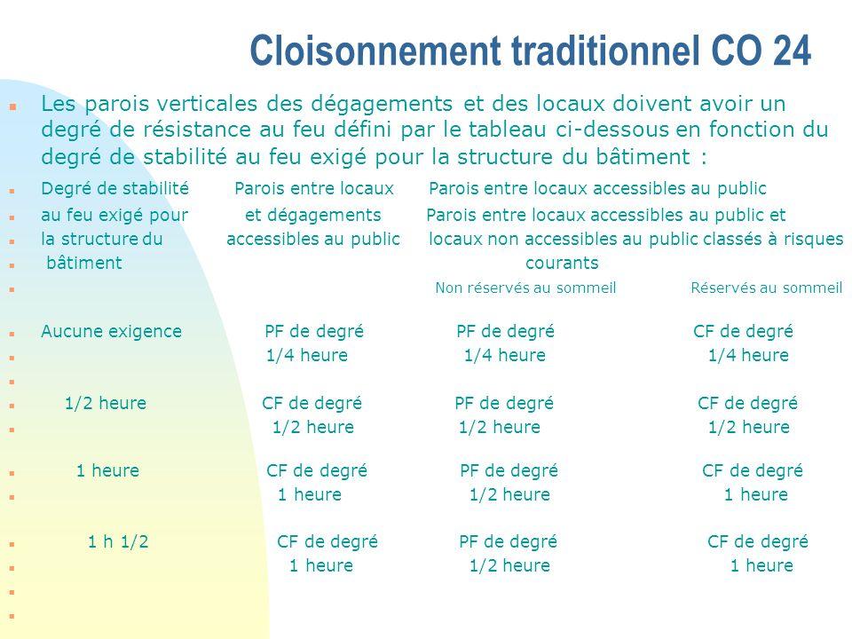 Cloisonnement traditionnel CO 24 n Les parois verticales des dégagements et des locaux doivent avoir un degré de résistance au feu défini par le table