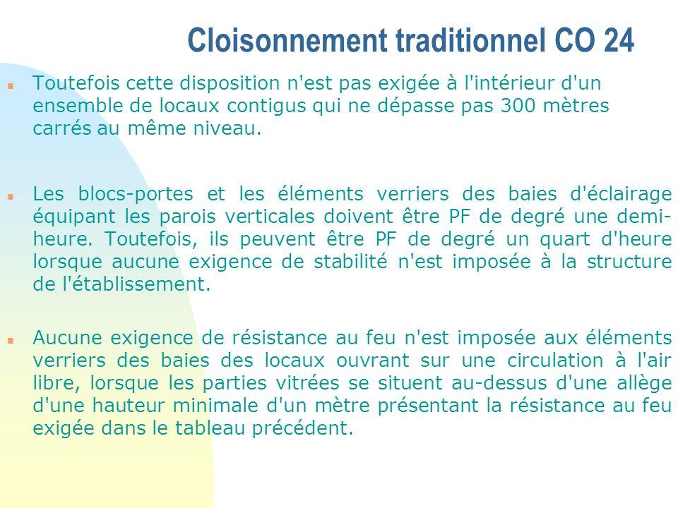 Cloisonnement traditionnel CO 24 n Toutefois cette disposition n'est pas exigée à l'intérieur d'un ensemble de locaux contigus qui ne dépasse pas 300