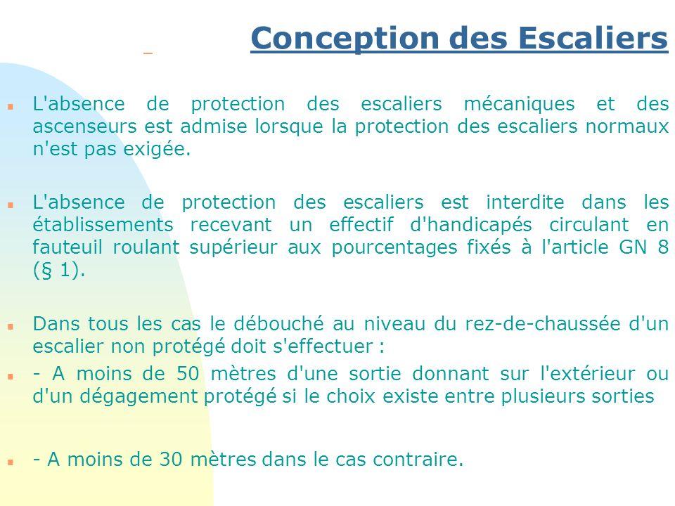Conception des Escaliers – n L'absence de protection des escaliers mécaniques et des ascenseurs est admise lorsque la protection des escaliers normaux