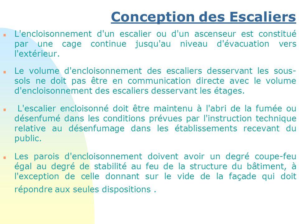 Conception des Escaliers n L'encloisonnement d'un escalier ou d'un ascenseur est constitué par une cage continue jusqu'au niveau d'évacuation vers l'e