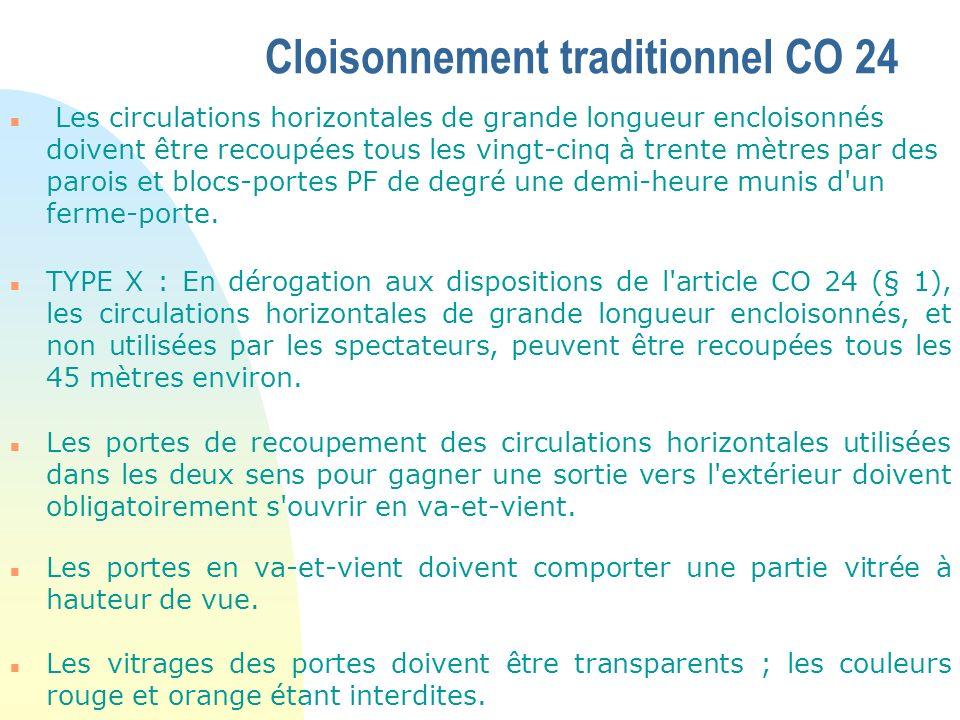 CO 26 - Recoupement des vides n Les parois verticales auxquelles un degré de résistance au feu est imposé doivent être construites de plancher à plancher.