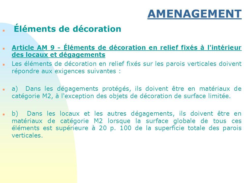 AMENAGEMENT n Éléments de décoration n Article AM 9 - Éléments de décoration en relief fixés à l'intérieur des locaux et dégagements n Les éléments de