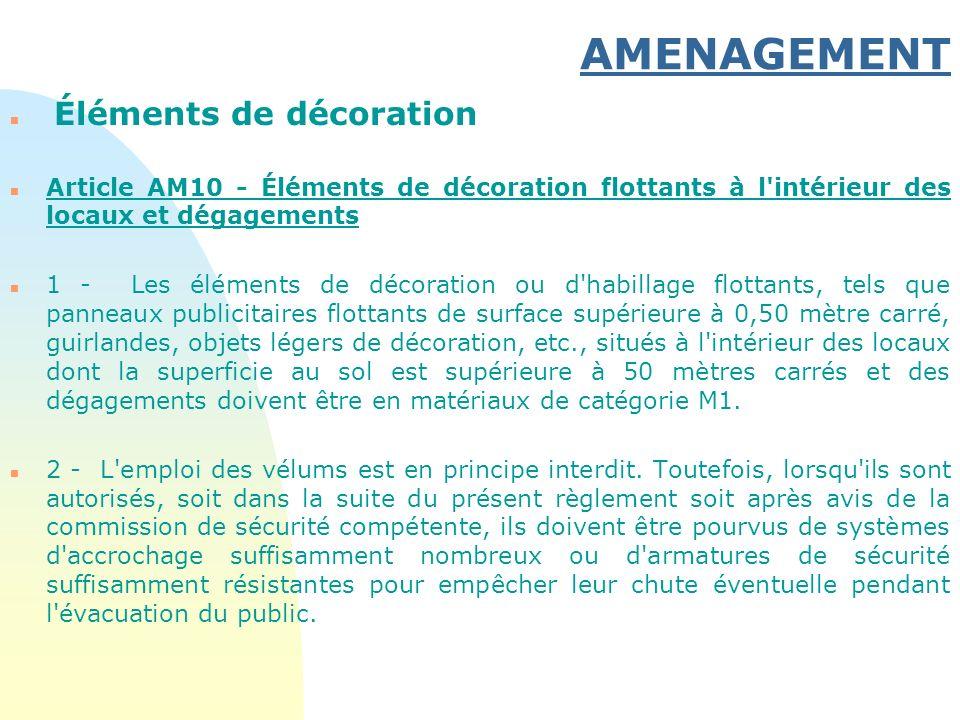 AMENAGEMENT n Éléments de décoration n Article AM10 - Éléments de décoration flottants à l'intérieur des locaux et dégagements n 1 - Les éléments de d
