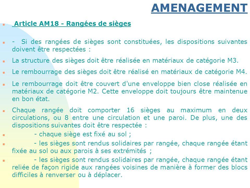 AMENAGEMENT n Article AM18 - Rangées de sièges n - Si des rangées de sièges sont constituées, les dispositions suivantes doivent être respectées : n L