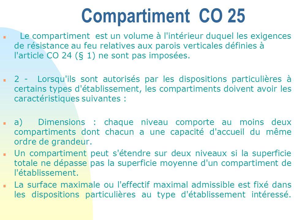 Compartiment CO 25 n Le compartiment est un volume à l'intérieur duquel les exigences de résistance au feu relatives aux parois verticales définies à
